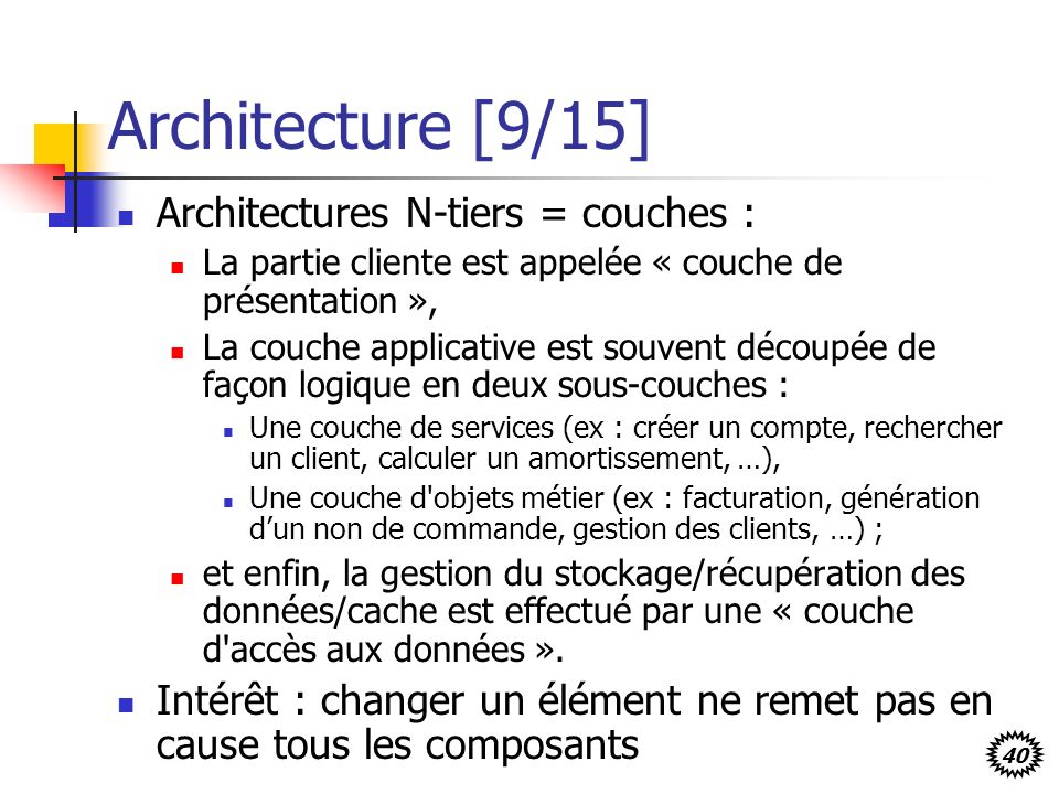 Architecture [9/15] Architectures N-tiers = couches :